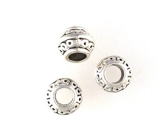 Lead Free Pewter Circle Design Barrel Beads  (EF586)   SRA-D84