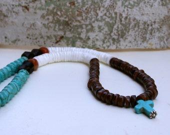 Turquoise Cross Heishi Rivershell Carnelian Religious Tribal Earthy Rustic Boho Beach Necklace