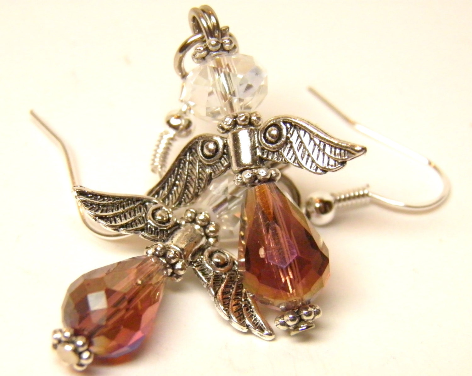 Christmas angel earrings sterling silver wires purple amber ab for Sterling silver christmas jewelry