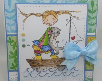 Sailboat Girl - Handmade Card