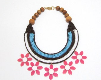 Day Off - Knitted Crocheted Cotton Wood Beads Fiber Flowers Pendant Handmade Statement necklace