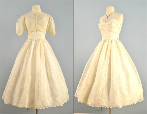 Vintage 1950s wedding dress tea length ivory organza for Etsy tea length wedding dress
