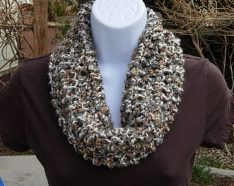 SUMMER COWL SCARF, Cream, Grey Gray, Tan Brown Small Short Infinity Loop, Crochet Knit Soft Lightweight Neck Warmer..Large Size Available