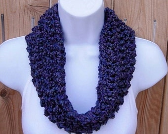 SUMMER COWL SCARF, Purple, Teal Blue, Gray Grey, Small Short Infinity Loop, Crochet Knit Soft Lightweight Neck Warmer..Large Size Available