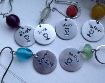 Handstamped Wine Charm Set