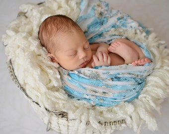 Blue Floral Ruffle Stretch Fabric Baby Wrap Newborn Photography Prop