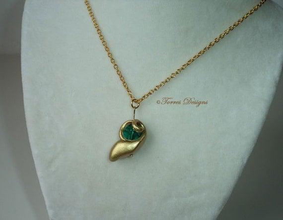 Kokiri Emerald Pendant Necklace Legend of Zelda Handmade Custom by TorresDesigns - Ready To Ship