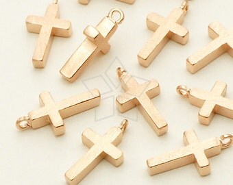 PD-644-PK / 4 Pcs - NEW Mini Cross Charm, Rose Gold (Pink Gold) Plated over Brass / 7mm x 13mm