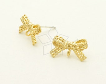SI-601-MG / 2 Pcs - Lace Ribbon Stud Earrings, Matte Gold Plated, with .925 Sterling Silver Post / 14mm x 8mm