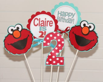 Elmo Birthday Centerpiece Decorations - Turquoise Red