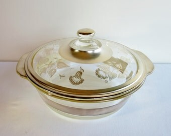 Vintage Briard Glass Casserole - Silver Band Lid - Signed Georges Briard - Hollywood Regency