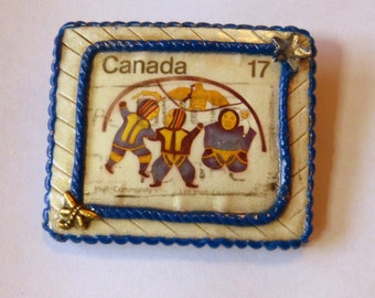Inuit Brooch Pin Canadian Inuit Postage Stamp Brooch Hand Made