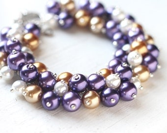 Purple and Gold Wedding Bridesmaid Jewelry Pearl Cluster Bracelet - Golden Grapes