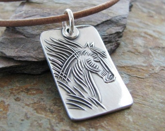Personalized Horse Pendant, Tribal Horse, Artisan PMC Jewelry, SilverWishes Original and Exclusive