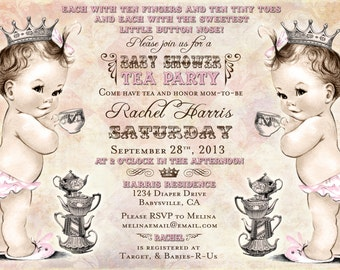 Twins Tea Party Baby Shower Invitation For Twin Girls - Vintage - Princess - Crown - Pink - DIY Printable