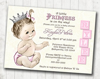 Princess Baby Shower Invitation For Girl - Vintage Princess - Pink and Silver Crown - Pink - DIY Printable