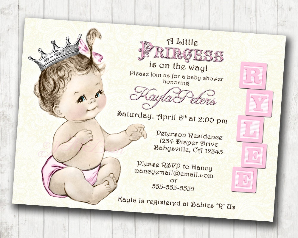 pink princess invite princess baby shower invitation for girl vintage princess pink and silver crown pink diy printable