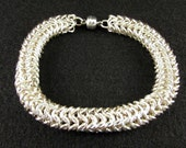 Chainmaille Bracelet - Bright Silver European 4 in 1 Roundmaille Bracelet
