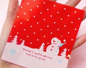 Snowman Gift Bags (20 pcs) Self Adhesive Resealable Plastic Bags Handmade Gift Kawaii Wrapping Bags Packaging (10cm x 11cm) GB037