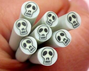 Skull Polymer Clay Cane Skeleton Fimo Cane (Black) Halloween Scrapbooking Nail Art Nail Deco Earrings Making Fake Mini Cupcake Topper CE062