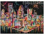 Pittsburgh Skyline Art, Fireworks, Pittsburgh point, Three Rivers,  Print by Johno Prascak