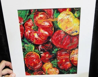 Modern wall art, Kitchen art, vegetable painting, Abstract Tomatoes,  Print Garden Art white mat