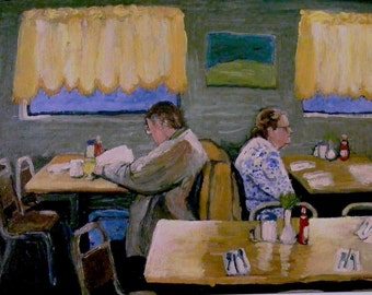 "Art Print of my original oil painting,""Diner"", 11x14 Handsigned,Wall Art,People at a restaurant,large print,Room decor,Patty Fleckenstein"