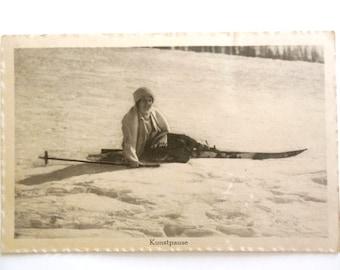 Vintage Ski Photo Postcard - Unused - Ski Ephemera - Ski Memorabilia - Collectible - Old Ski - Ski