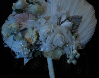 x Decorator Feather Fan Designer Made of velvet millinery flowers with glitter wood handle (FF265)