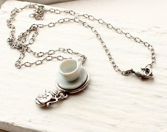 Tea Cup Necklace - White