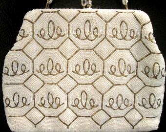 White and Gold Beaded Handbag by La Regale Original / Dainty Purse