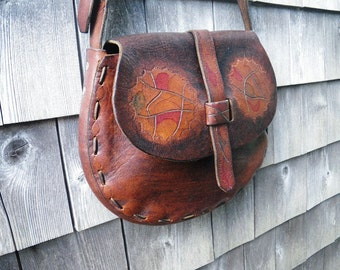 1970s Hand Tooled & Stained Belt Leather Shoulder Bag - Abstract Art Designs