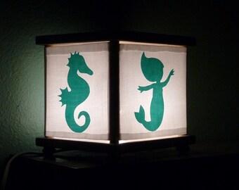 Mermaid & Seahorse Night Light Lamp Ocean Sea Blue Nursery