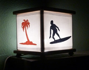 Surfer Night Light Ocean Lamp Surfing Palm Trees Navy and Orange
