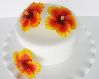 edible sugar hibiscus color of your choice set of 3