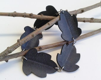 Upcycled Inner Tube Leaf Bracelet - nature jewelry - Small