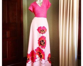 Albert Shaheen 70s Mod Maxi Wrap Poppy Dress