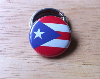 Puerto Rico Flag - Pinback Button, Magnet, Mirror, or Bottle Opener