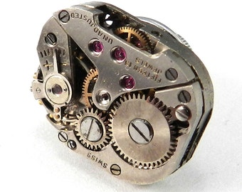 Steampunk Pin, Lapel Pin, Tie Tack - Industrial Steampunk Vintage Mechanical Watch Movement Wedding Tie Pin