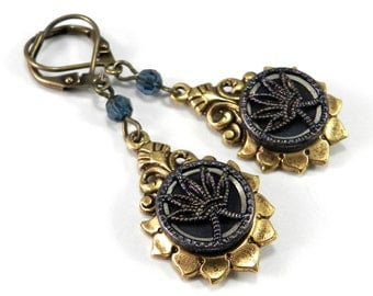 Victorian Steampunk Earrings, Antique Button Earrings Mirror Lotus Blossom Midnight Blue, Victorian Steampunk Jewelry by Compass Rose Design