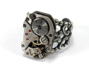 STEAMPUNK Watch Ring, SOLDERED Silver CLOCKWORK Vintage Mechanical Watch Ring, Mens or Womens, Steampunk Jewelry by Compass Rose Design