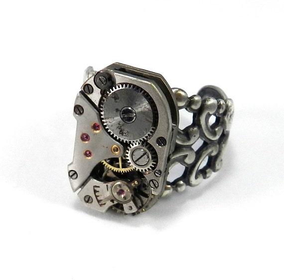 steunk ring soldered silver clockwork vintage