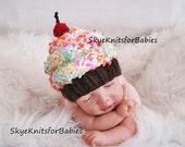Newborn Baby Cupcake Hat, Knit Cupcake Beanie, Knit Baby Cupcake Hat, Preemie - 24 Months, Newborn Photo Prop, Baby Photo Prop