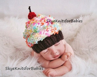 Newborn Baby Cupcake Hat, Knit Cupcake Beanie, Knit Baby Cupcake Hat, Children Cupcake Hat, Newborn Photo Prop, Baby Photography Prop