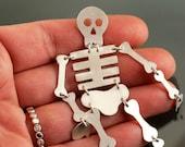 Custom Skeleton Halloween Sterling Silver Earring Moving Bones Skeleton earring