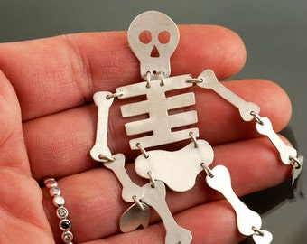 Skeleton Halloween Sterling Silver Brooch, Moving Bones Skeleton Pin, Ready to Mail,  Brooch #40
