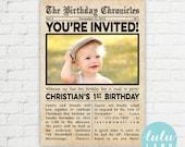 Vintage Newspaper Style Birthday Invitation - Printable