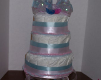 Twin Baby Shower Diaper Cake Party Favor Centerpiece Client Gift Pink Blue Boy Girl Reveal Baby Shower