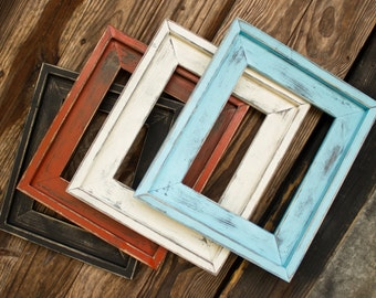 farmhouse distressed frame rustic picture frame hand painted stacked large variety of sizes available 4x6 5x7 8x10 16x20 and more