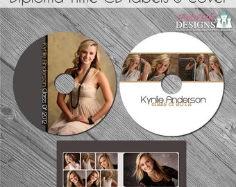 INSTANT Download Diploma Time CD Label Set and CD Case - custom photo templates for photographers